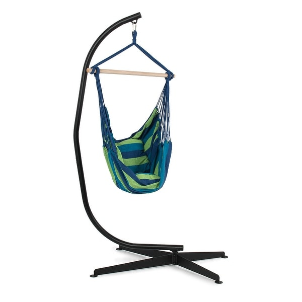 shop belleze c frame stand indoor outdoor solid steel with hammock air porch swing hanging chair. Black Bedroom Furniture Sets. Home Design Ideas