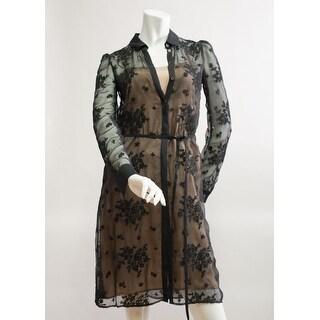 Valentino Black Floral Mesh Cardigan W/ Silk Pink Dress