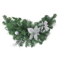 """30"""" Silver Poinsettia and Pinecone Artificial Christmas Swag - Unlit - green"""