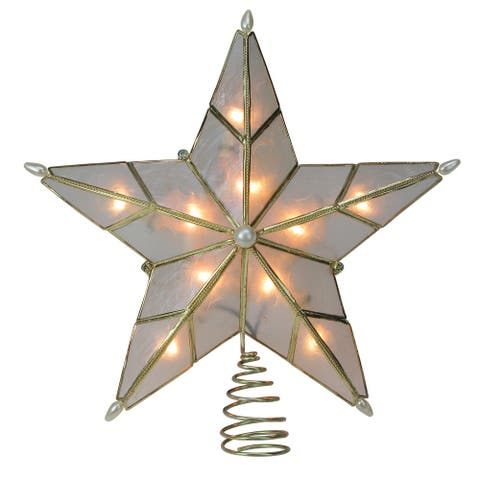 """10"""" Lighted Gold Star Christmas Tree Topper - Clear Lights"""