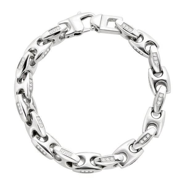 Men's Mariener Link Bracelet with Cubic Zirconia in Stainless Steel - White