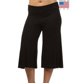 Plus Size Women's Gaucho Pants 3/4 Long Palazzo Pants Loose Fit Waist Band 1XL 2XL 3XL More Colors Available (3 options available)