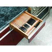 "Rev-A-Shelf 4WKB-1 4WKB Series 18-1/2"" Wide Trimmable Drawer Knife Block with 19 slots for Knives - Natural Wood"