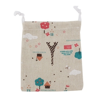 Household Cotton Linen Eiffel Tower Pattern Packing Bags Drawstring Pouch