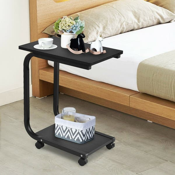 Sofa Side End Table Snack Stand Rolling