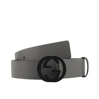 Gucci Men's Interlocking G Grey Leather Belt with Black Buckle 368186 1226