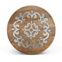 """18"""" Brown and Gray Hand-Carved Vintage-Inspired Metal Inlay Lazy Susan"""