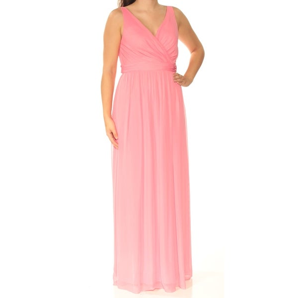 ADRIANNA PAPELL Womens Pink Sleeveless V Neck Full-Length Fit + Flare Formal Dress Size: 6