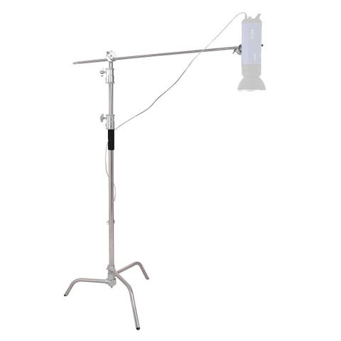 Costway 40'' Stainless Steel Silver C-stand w Grip Head Folding Legs Photography Studio - as pic