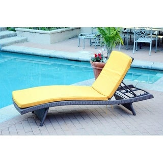 """80"""" Adjustable Espresso Resin Wicker Outdoor Patio Chaise Lounge Chair - Yellow Cushion"""