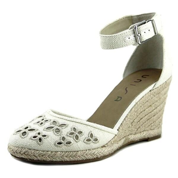 Unisa Areia Women Open Toe Canvas Ivory Wedge Sandal