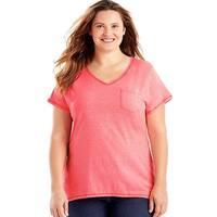 Just My Size 90563032044 Short-Sleeve V-Neck Womens Pocket Tee Shirt - W5 5X