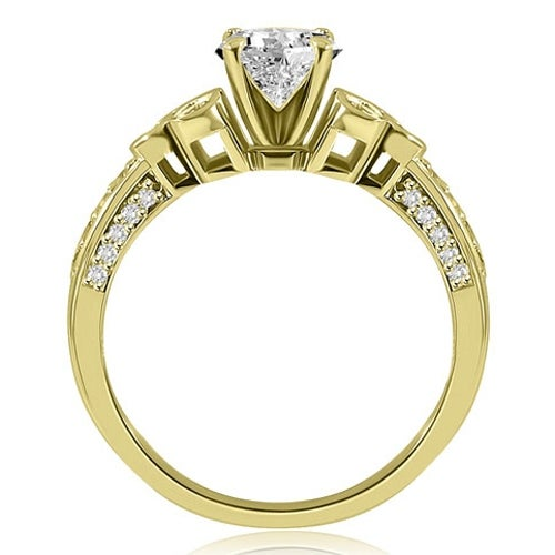 1.42 cttw. 14K Yellow Gold Round Cut Diamond Engagement Ring