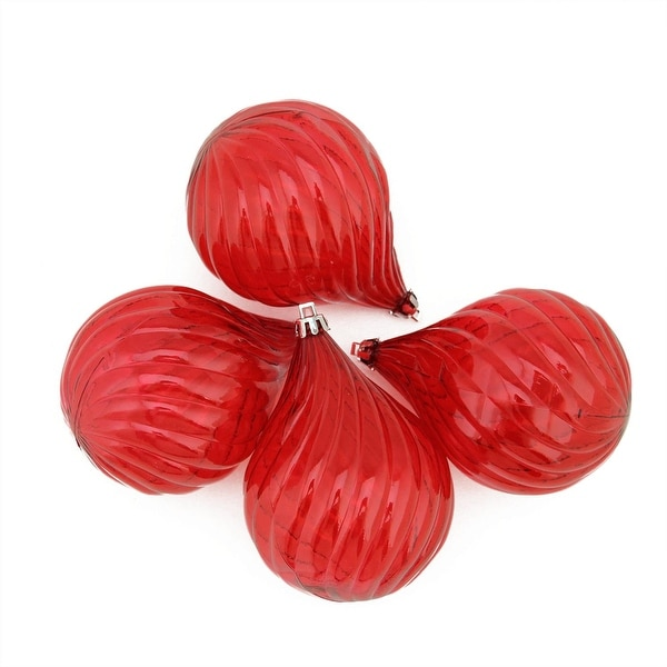 4ct Red Hot Transparent Finial Drop Shatterproof Christmas Ornaments 4.5""