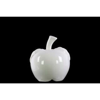 Decorative Apple Figurine In Ceramic, Small, Glossy White