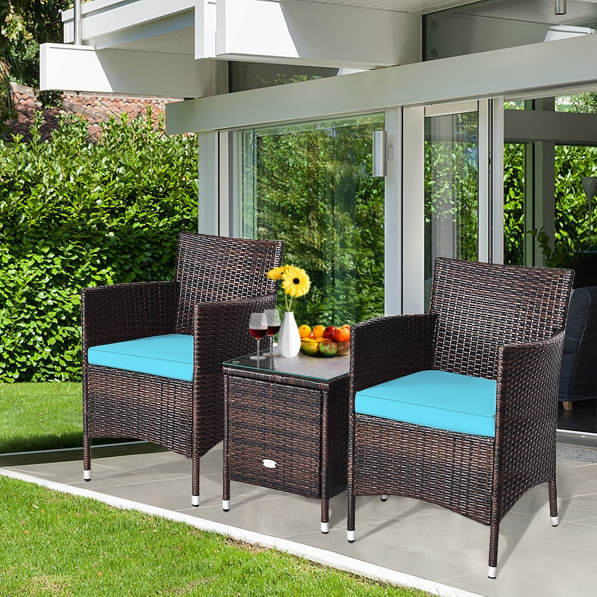 Costway Outdoor 3 PCS Rattan Wicker Furniture Sets Chairs Coffee Table - On Sale - Overstock - 30994680
