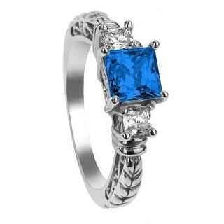 LARK Three Princess Cut Blue & White Sapphire Palladium Engagement Ring with Filagree Pattern