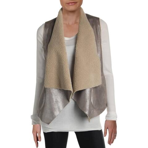 French Connection Womens Casual Vest Shimmer Faux Fur - Silver