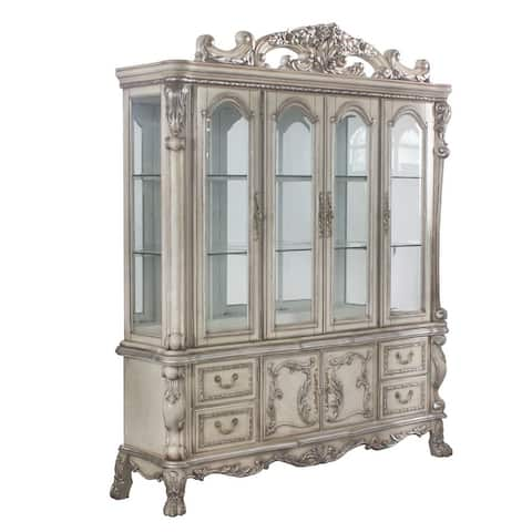 Floral Motif Wooden Hutch and Buffet with 4 Glass Doors and Claw legs,White