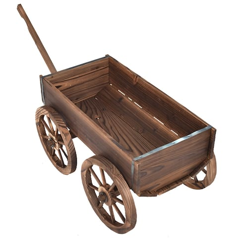 Wood Wagon Planter Pot Stand with Wheels - Brown