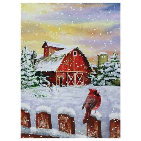 "LED Back Lit Snowy Sunset Barn Scene Christmas Wall Art 15.75"" x 12"". Opens flyout."