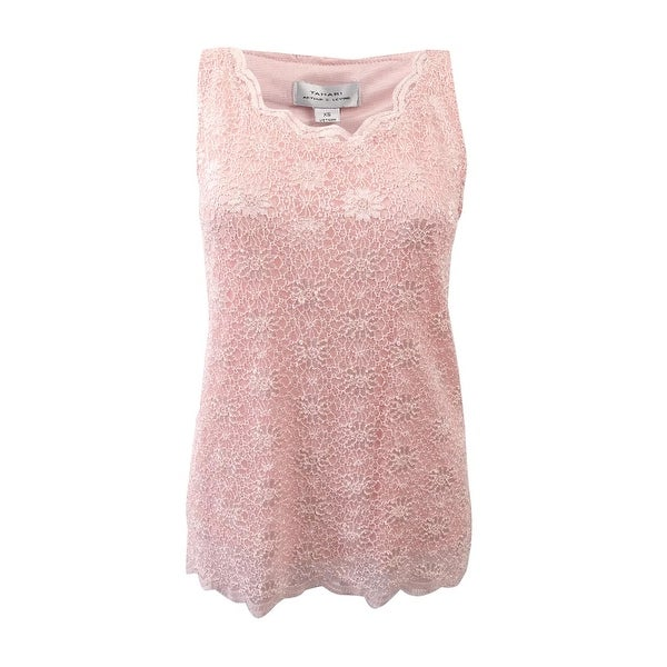 c2ff4ffcf4c Tahari ASL Women's Scalloped Lace Top (L, Blush Pink) - Blush Pink - L