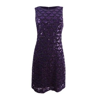 Jessica Howard Women's Sequined Scallop Dress - eggplant