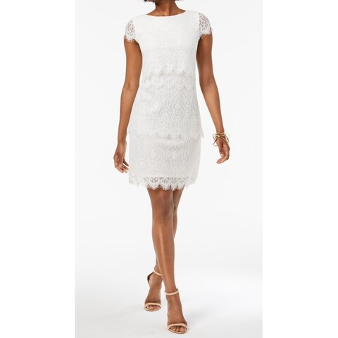 Donna Ricco White Womens Size 16 Lace Tiered Eyelash Hem Shift Dress