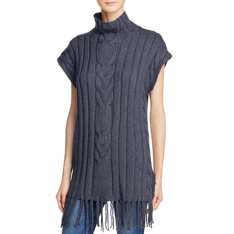 525 America Womens Poncho Sweater Cable Knit Fringe