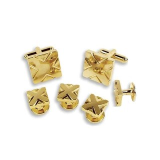 Gold Square with Diagonal Stripe Cufflinks and Studs