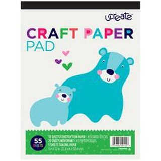 "Assorted Colors - U-Create Craft Paper Pad 9""X12"" 55/Pkg"