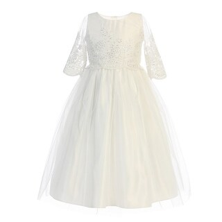 Little Girls Off-White Sequin Cord Detail Flower Girl Dress