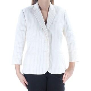 RALPH LAUREN $295 Womens New 1495 Ivory Black Pinstripe Blazer Jacket 12 B+B