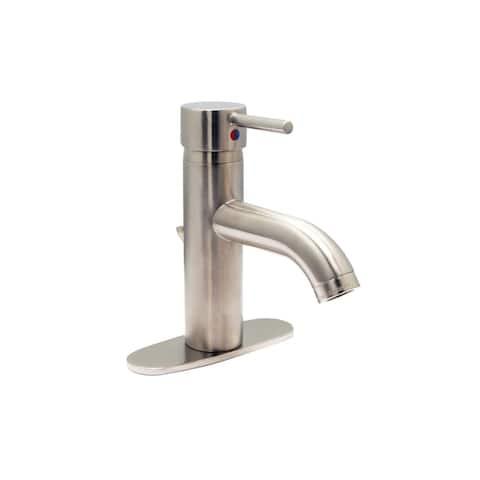 Euro Single Hole Bathroom Faucet, PVD Satin Nickel Finish - Single Hole