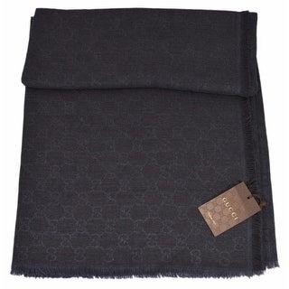 "Gucci 281942 Wool Silk Blend Blue Black GG Guccissima Large Muffler Scarf - 53"" x 53"""