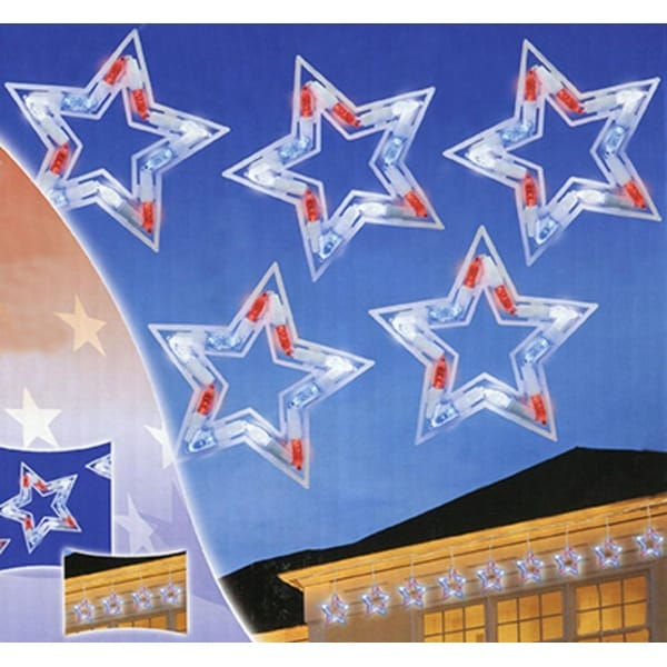Set of 5 LED Red, White and Blue Patriotic Star Christmas Lights - White Wire - multi