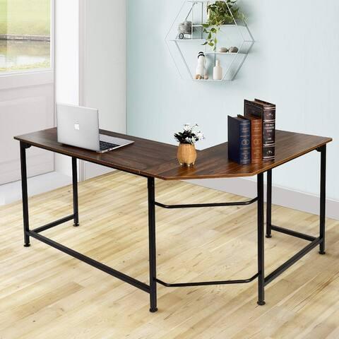 VECELO Home Office Desk Modern Style L-Shaped Corner Computer Desk