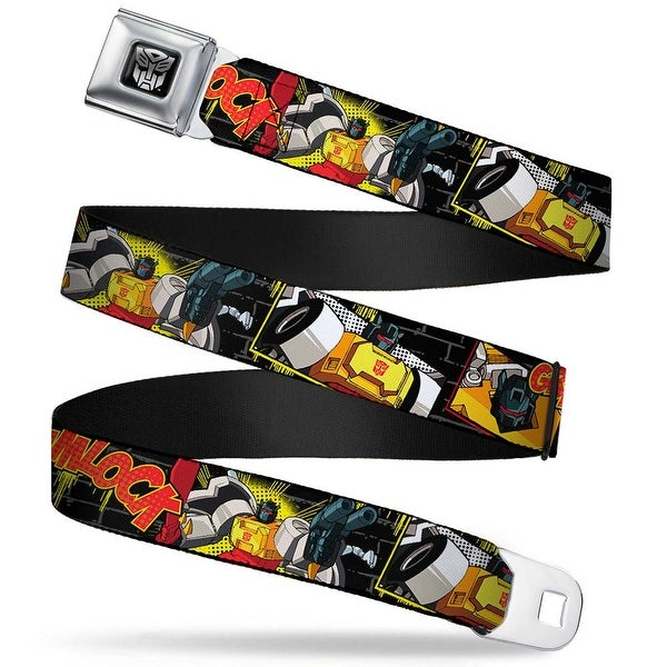 Transformers Autobot Logo Full Color Black Silver Gradient Grimlock Poses Seatbelt Belt