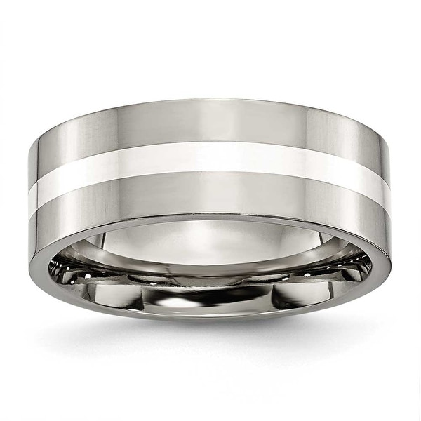 Chisel Sterling Silver Inlaid Flat Polished Titanium Ring (8.0 mm)