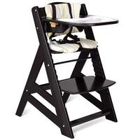 Costway Baby Toddler Wooden Highchair Dining Chair Adjustable Height w/ Removeable Tray - Black