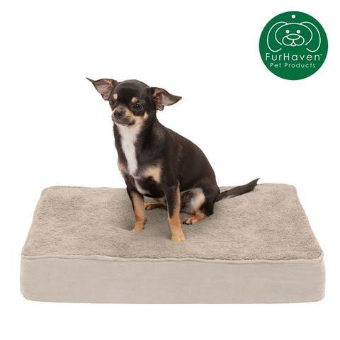 FurHaven Terry & Suede Deluxe Memory Top Pet Bed