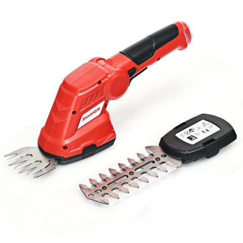 3.6V 2-in-1 Cordless Grass Cutter Shrub Trimmer - Red