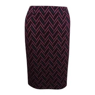 Kasper Women's Jacquard Pencil Skirt - sangria multi