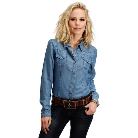 Stetson Western Shirt Womens L/S Snap Front Blue