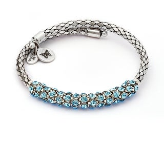 Bohemia Energy Aquamarine Crystal Wrap Bangle For Women, Silver Rhodium Plated