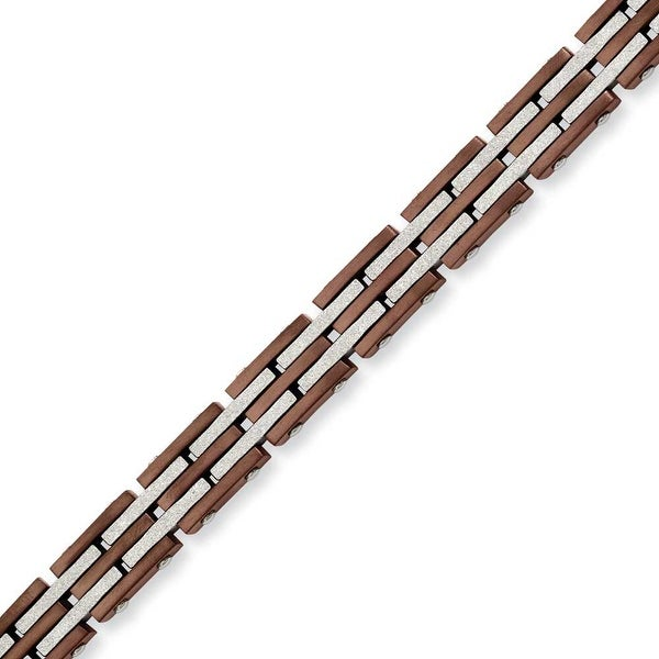Stainless Steel IP Brown Plated & Laser Cut 8.25in Bracelet