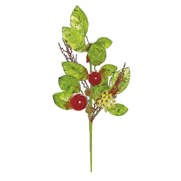 """19"""" Decorative Metallic Leaf and Ball Ornament Artificial Christmas Pick"""