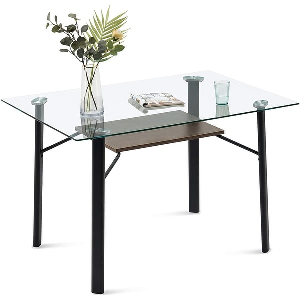 Glass Dining Table Modern Rectangular Kitchen Table. Opens flyout.