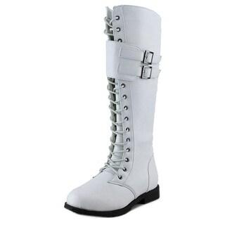 West Blvd Manila Combat Women Round Toe Synthetic White Mid Calf Boot
