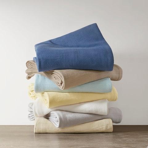 Madison Park Freshspun Basketweave Cotton Blanket